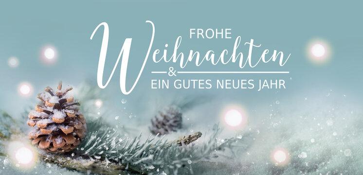 Frohe Weihnachten und ein gutes neues Jahr -  Weihnachtskarte - Weihnachtsgruss  Schneelandschaft