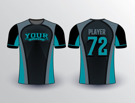 Black color base with teal and dark grey combination softball baseball esports and all sports team jersey mockup