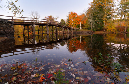 The North Bridge, often colloquially called the Old North Bridge in Concord, Massachusetts at sunset. The bridge is a historic site in Concord, Massachusetts spanning the Concord River.