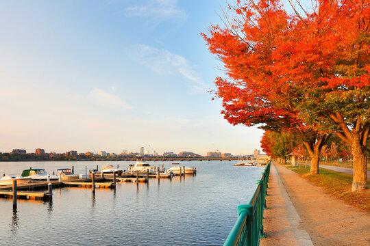 Boston Skyline in autumn showing  the Charles River at sunrise, Boston Massachusetts.