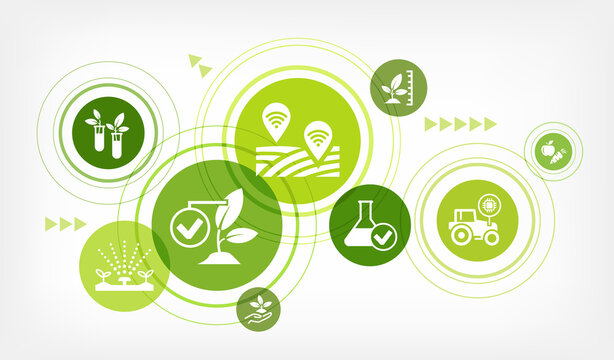 smart farm or farming vector illustration. Concept with icons related to agriculture technology, agritech, modern agronomy, monitoring crop, harvest optimization, iot in farming