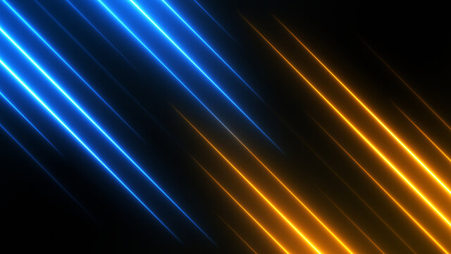 Abstract technology background with blue and golden neon rays. Bright split screen texture for compare concept.