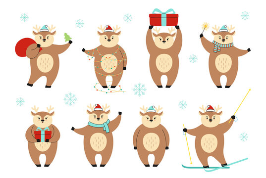 Christmas deer cartoon in different poses set. Wildlife New Year reindeer character collection. Deers with red hat, with gift box, skis and santa bag or garland. Forest Christmas animal