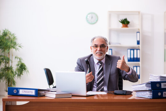 Old male businessman employee working in the office