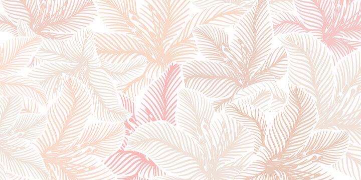 Luxury pink background vector with golden metallic decorate wall art