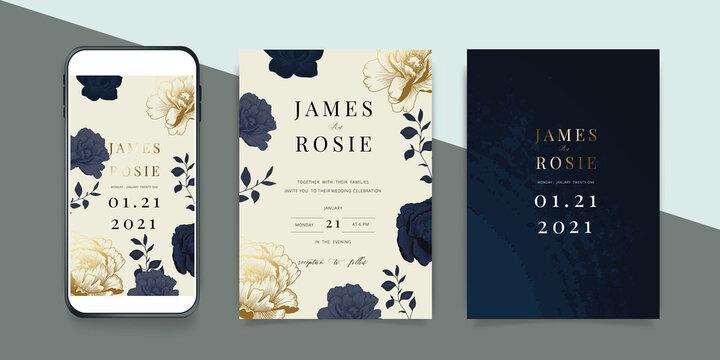 Luxury Social Media Wedding invite frame templates. Vector background. Mockup for social media banner. mobile Floral golden collage layout design.