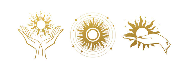 Obraz Set of mystical logos with the sun. The hand holds the sun. Set of vector drawings for boho dihain, astrology, horoscope. Black doodle illustration isolated on white background - fototapety do salonu
