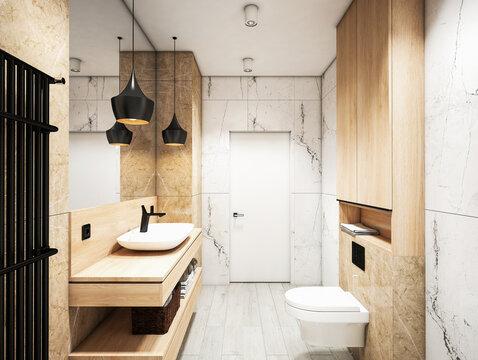 Mdern white Interior of a bathroom