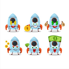 Rocket toy cartoon character with cute emoticon bring money