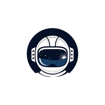 simple modern playful flat space astronaut illustration helmet vector icon