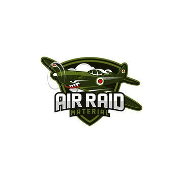 retro world war combat plane air raid gaming team vector illustration