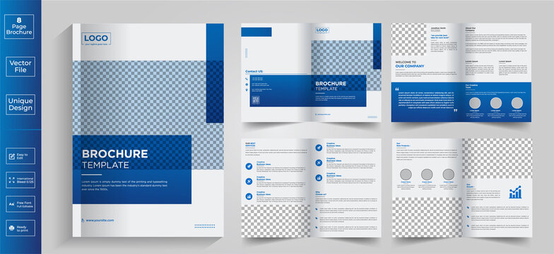 Minimal & clean geometric design of 8-page blue color template for brochure, flyer, magazine, catalog or company report. A4 size,8 pages business company profile brochure design,Real estate 8-page bro