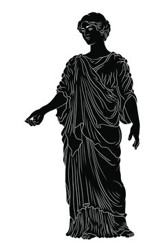 An ancient Greek young woman in a tunic and cape stands looks away and gestures.