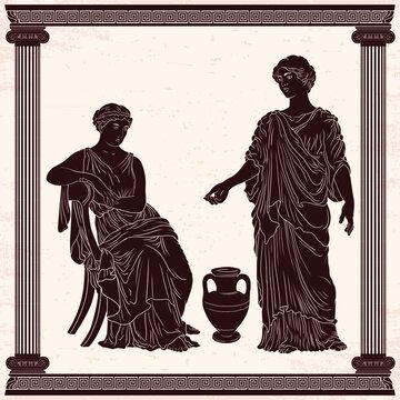 Two ancient Greek women in tunics talk near a jug of wine.