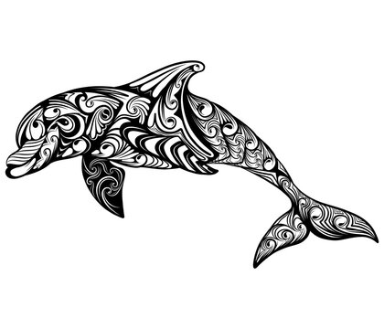The dolphin with the zentangle abstract art for the drawing inspiration