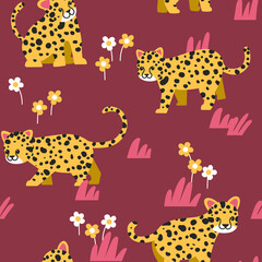Animal seamless pattern, cute leopard with flowers and leaves on dark red