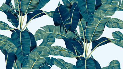 Botanical seamless pattern, hand drawn banana tree on bright blue