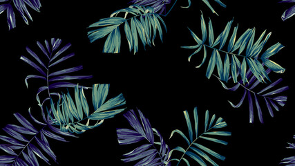 Botanical seamless pattern, hand drawn indoor bamboo palm on black
