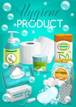Personal hygiene products and toiletries banner. Liquid soap or hand sanitizer, wipe napkins, tampon and toilet paper, cotton swabs and balls, shampoo or body lotion, soap and pumice stone vector