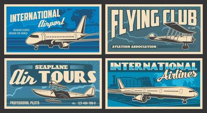 Plane and airport retro banners of vector air travel, flying club and passenger transportation. Airplanes, airline terminal, runway and traffic control towers, vintage seaplane and world map