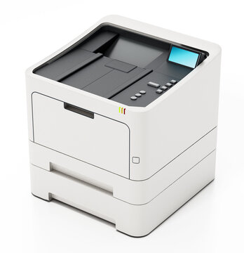 Generic laser printer isolated on white background. 3D illustration