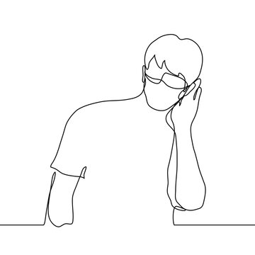 young man in a mask stands leaning over with his hand to his ear to better hear or eavesdrop. one line drawing listener, gossip, rumor, detective, observer, hearing problems.