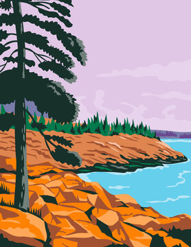 Acadia National Park in Southwest of Bar Harbor Maine United States WPA Poster Art Color