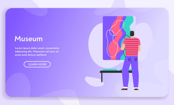 Vector banner of Museum concept. Man watching exhibition of painting