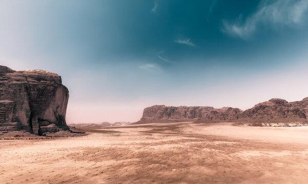 Wadi Rum - Red Desert with Jebel Khazali & El Qattar (duotone black & white)