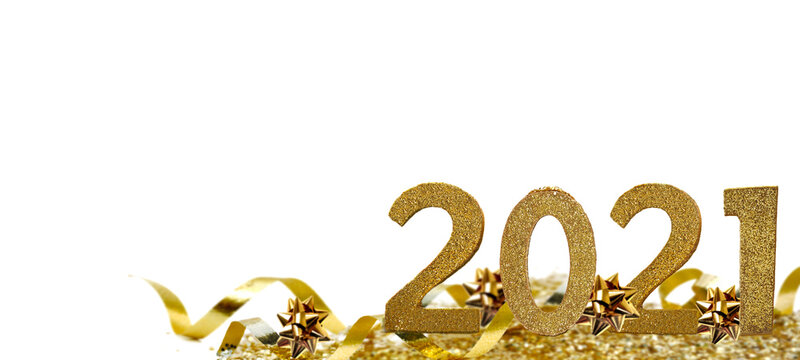 2021 golden figures standing in ribbon and confetti on white background
