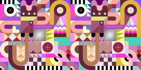 Seamless geometric vector pattern with different shapes and decorative elements. Abstract multicolor background.