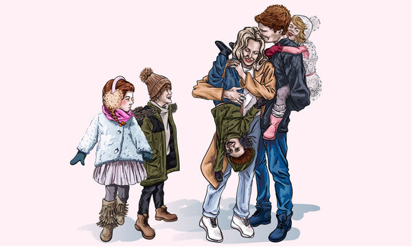 Parents and their kids spend time together outdoors, cartoon style. Mom and Dad laugh while holding children in their arms. Relatives have fun together. Happy family on the street in cold weather