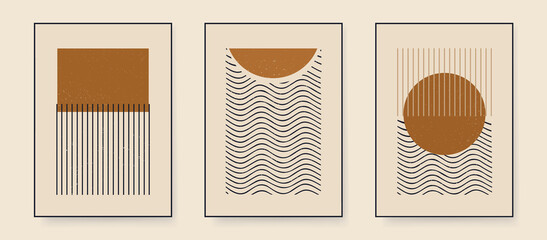 Obraz Set of minimalist abstract aesthetic illustrations. Modern style wall decor. Collection of contemporary artistic posters. - fototapety do salonu