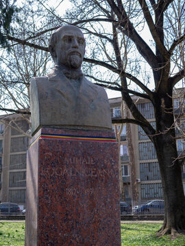 CHISINAU, MOLDOVA-MARCH 21, 2019: Mihail Kogalniceanu bust in the Alley of Classics