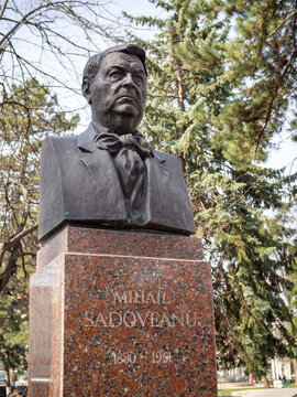 CHISINAU, MOLDOVA-MARCH 21, 2019: Mihail Sadoveanu bust in the Alley of Classics