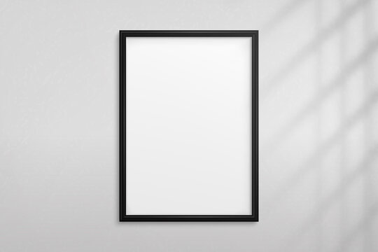 Mockup black frame photo on wall with shadow. Mock up artwork picture framed. Vertical boarder. Empty board a4 photoframe. Modern 3d border for design prints poster, blank, painting image. Vector