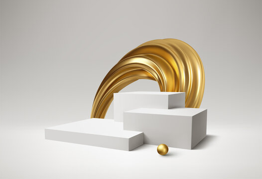 Background 3d white podium product and realistic golden swirl on the white background. Modern white cube podium, great design for any purposes. Vector illustration