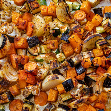 Close up of oven baked  vegetables.