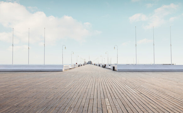 Wooden pier in Sopot city, Poland