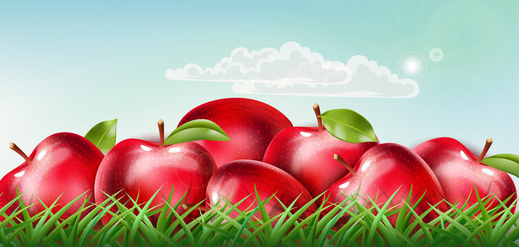 Pile of red apples laid down on the grass with clouds floating on sunny sky. Realistic 3D mockup product placement