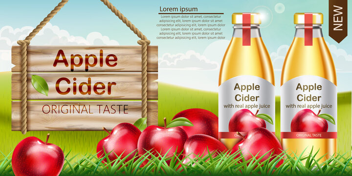 Two bottles with golden liquid inside standing on grass, with apples surrounding them and a wooden sign nearby. Place for text. Cider with real apple juice and original taste. Realistic 3D mockup