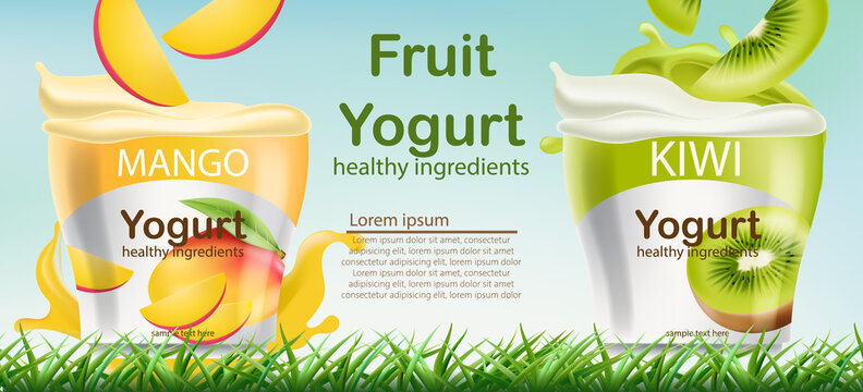 Two containers with mango and kiwi fruits yogurt on grass. Place for text. Healthy ingredients. Realistic 3D mockup product placement