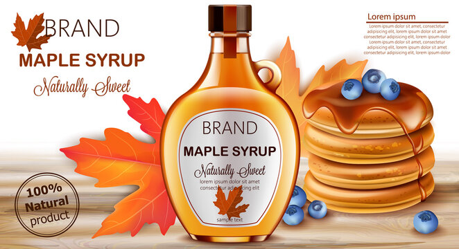 Bottle of natural sweet maple syrup with stacked pancakes with blueberries and autumnal leaves in background. Place for text. Realistic 3D mockup product placement
