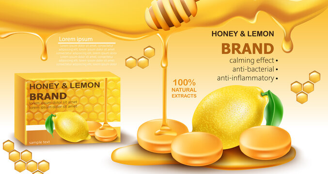 Honey and lemon drops with natural extracts. Calming effect. Antibacterial and anti-inflammatory. Place for text. Realistic 3D mockup product placement