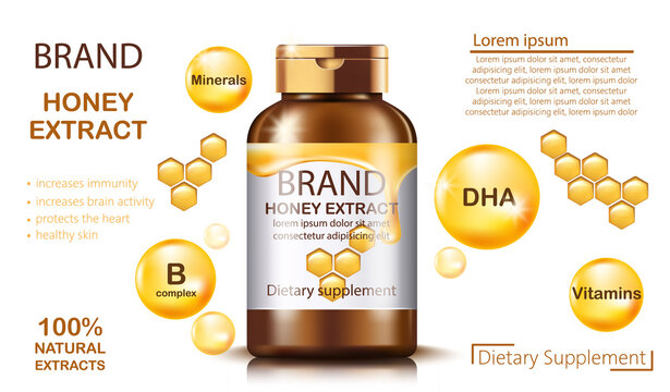 Bottle with natural honey extract dietary supplement. Increases immunity and brain activity, protects the heart and healthy skin. Contains minerals, B complex, vitamins and DHA. Place for text
