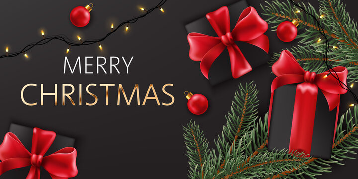 Composition of christmas decorations, pine twigs and black gift boxes with red ribbons. Realistic 3D mockup product placement