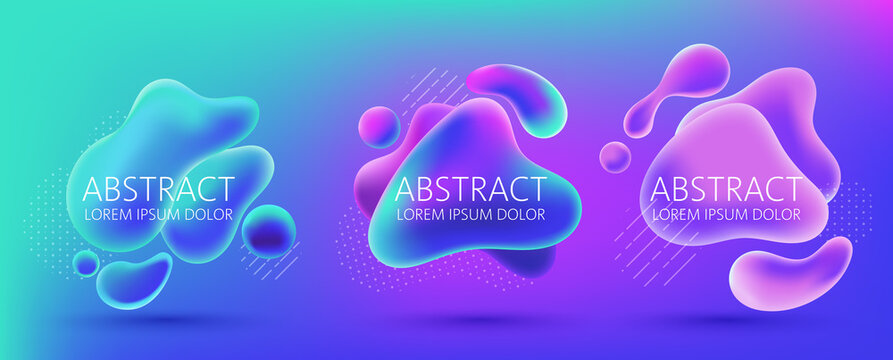 Set of three abstract background design of water alike blobs, white dots and lines pattern. Place for text. Realistic 3D mockup product placement