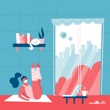 Coronavirus prevention concept. Girl does exercises. Stay at home to prevent COVID-19. Social campaign and support people in self-isolation. Modern minimalistic interior. Flat  illustration