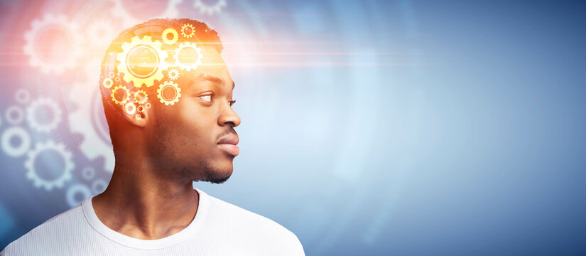 Collage of serious black guy with gears in his head thinking and looking at empty space over blue background