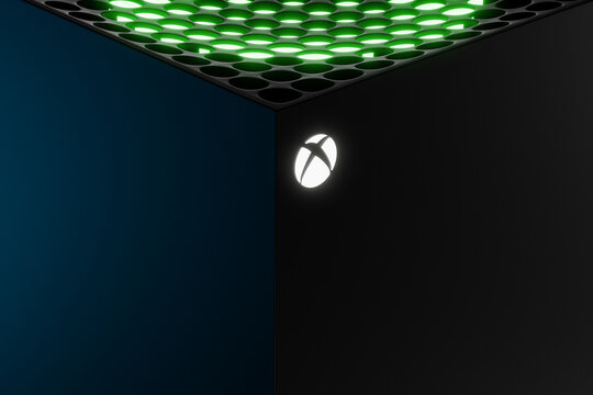 Wrocław,Poland - July 12 2020: Xbox Series X home video game console by Microsoft with close up of white logo on front. 3d render concept model. Copy space